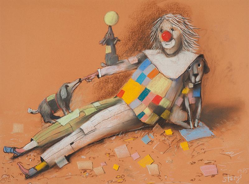Klaun z pieskami, 1985 r.