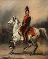 Huzar austriacki na koniu / Eustachy Dunin - Wąsowicz, ok. 1840 (?) r.