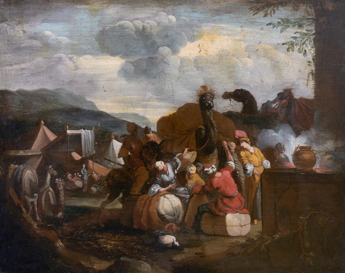 Orientalna scena rodzajowa z wielbłądami