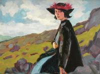 Czerwone pióra - portret Dorelii McNeill, 1911 r.
