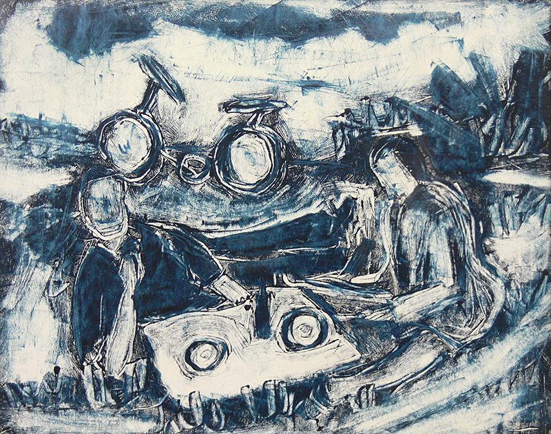 Scena rodzajowa z rowerem, 1949 r.