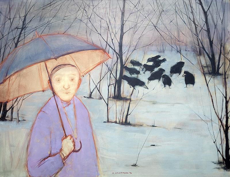 Pan z parasolką i krukami, 1994 r.