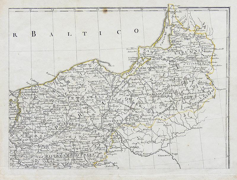 Mapa północnej Polski i Litwy