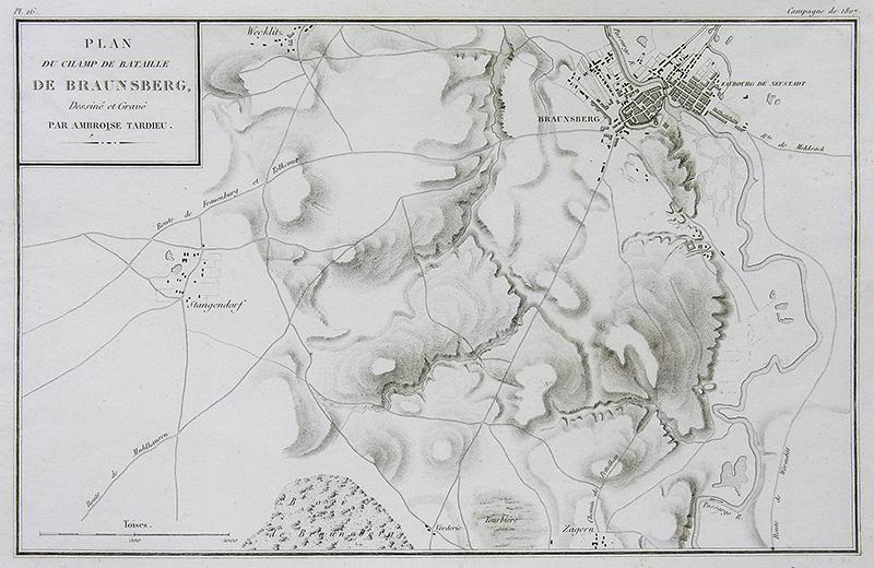 Plan du champ de bataille de Braunsberg