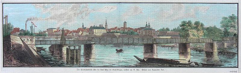 Die Eisenbahnbrücke über die Neue Oder bei Groß-Glogau