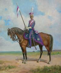 Ułan Księstwa Warszawskiego na koniu, 1992 r.