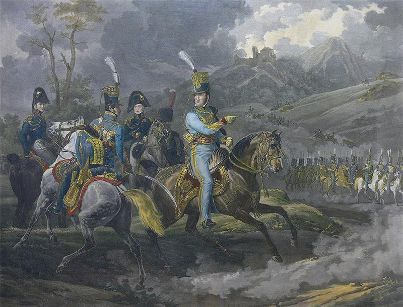 Książę Orleanu przyjmuje paradę huzarów