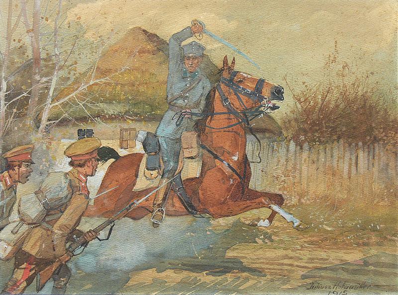 Szarża na rosyjskich piechurów, 1915 r.