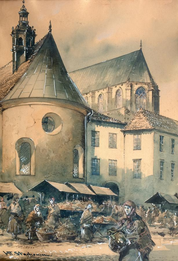 Dzień targowy na Małym Ryneku w Krakowie