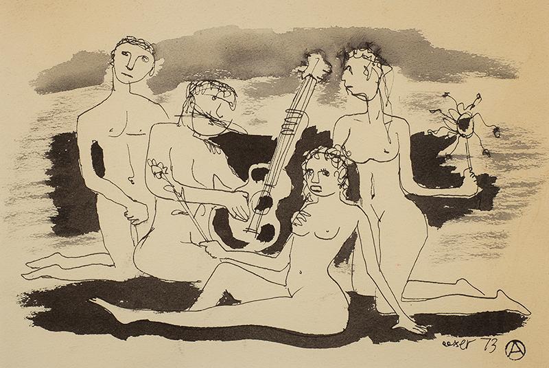 Muzykowanie na plaży, 1973 r.