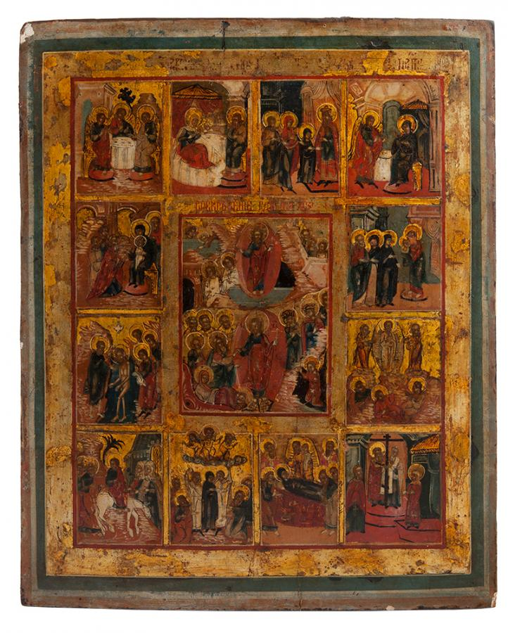 Ikona - Zmartwychwstanie Chrystusa i dwanaście wielkich świąt cerkiewnych, Rosja, XIX w.