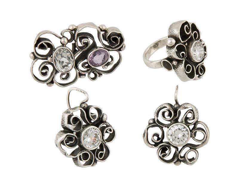 Komplet biżuterii: pierścionek, kolczyki, broszka, ORNO, po 1986 r.