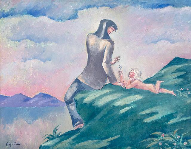 Kobieta z dzieckiem na brzegu jeziora (ok. 1913 r.?)