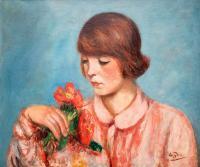 Kobieta z bukietem kwiatów
