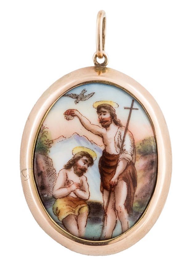 Medalik z przedstawieniem Chrztu Chrystusa, XIX/XX w.