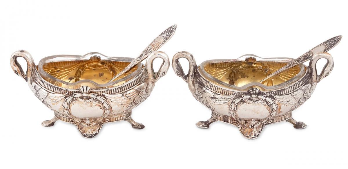 Para solniczek z 2 łyżeczkami, Francja, po 1838 r.