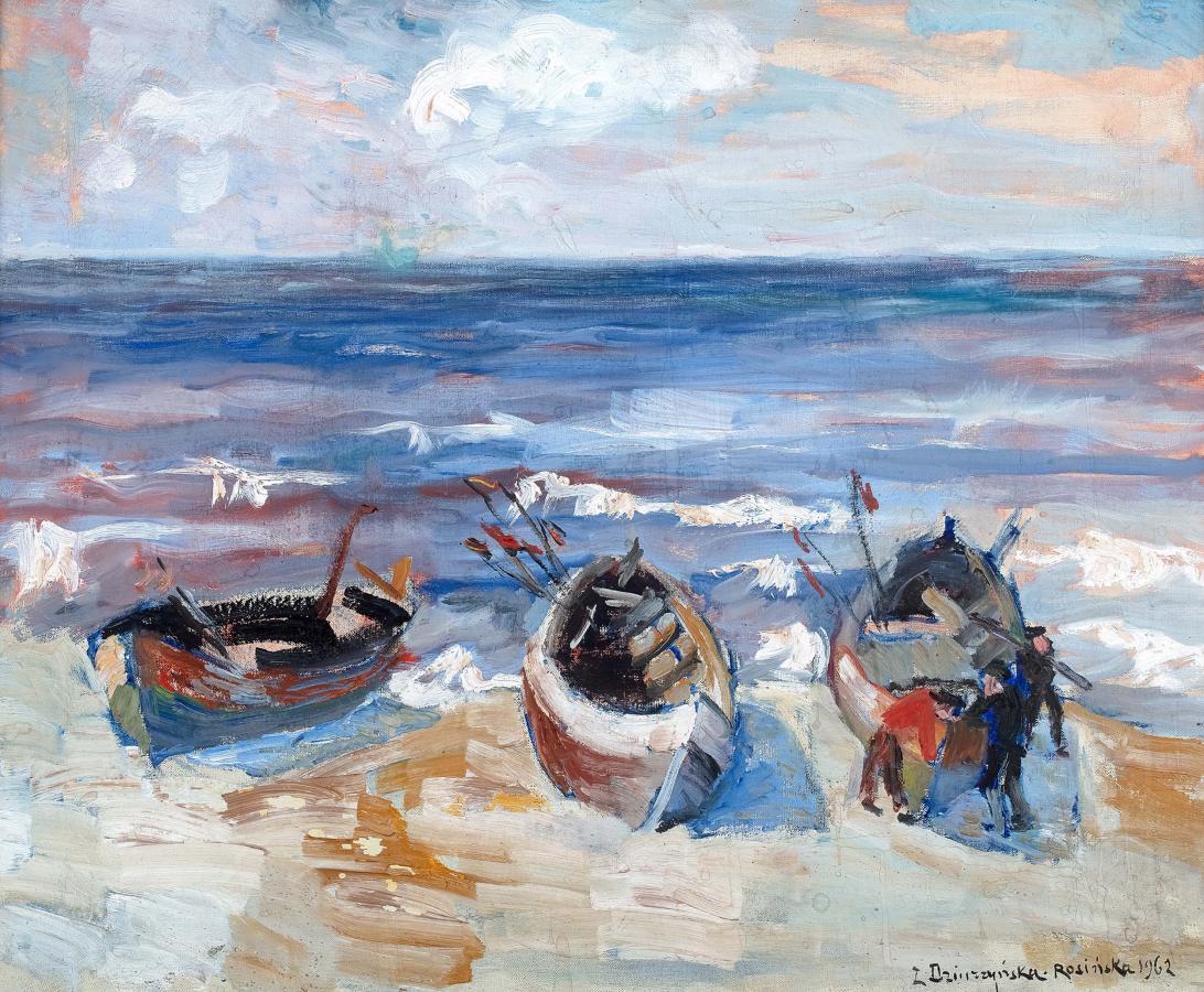 Przystań nad jeziorem Jamna, 1962 r.
