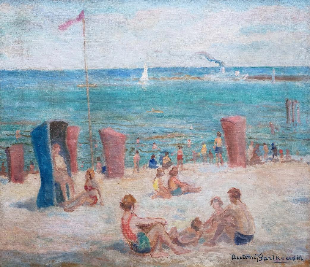 Na plaży – Sopoty, przed 1969 r.