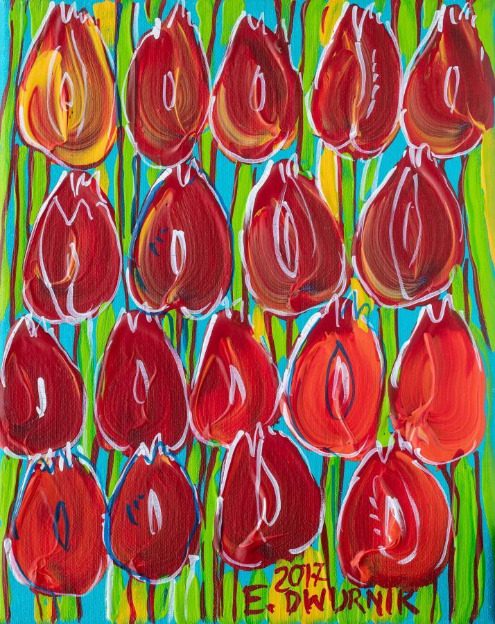 Czerwone tulipany, 2017 r.