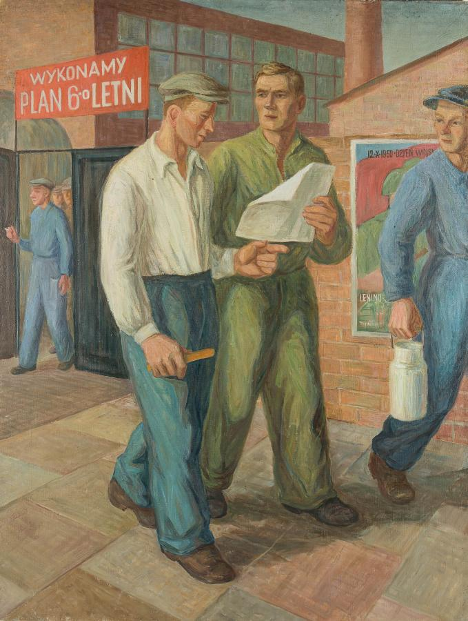 Robotnicy w trakcie Planu 6-cio letniego, ok. 1950 r.