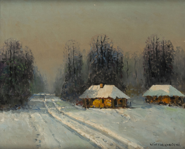 pejzaz-zimowy-z-chatami-wiktor-korecki