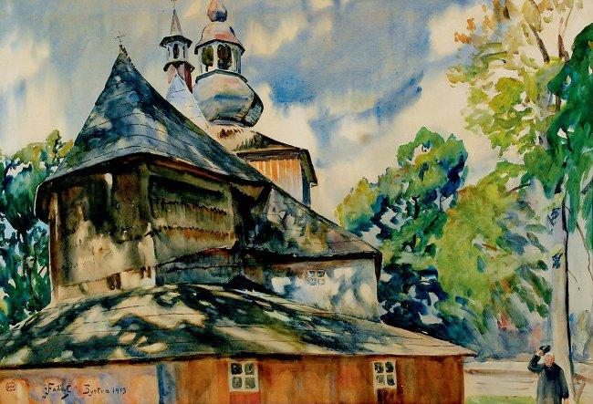 Julian Fałat | Kościół w Mikuszowicach, 1913 r.
