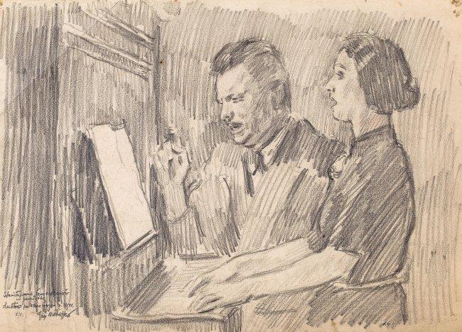Józef Mehoffer | Duet przy pianinie, 1941 r.