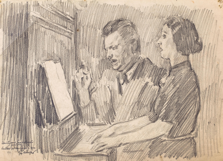 Józef Mehoffer   Duet przy pianinie, 1941 r.