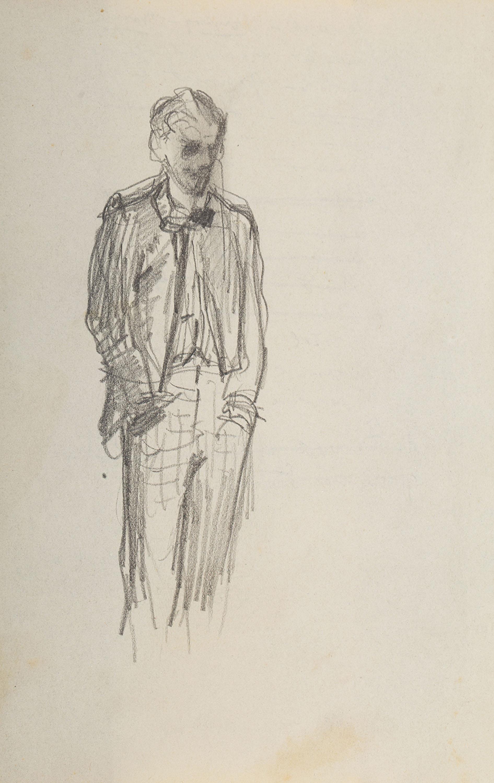 Stanisław Batowski Kaczor | Szkic młodego mężczyzny, stojącego z rękoma w kieszeniach