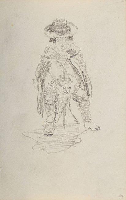 Stanisław Batowski Kaczor | Siedzący na stołku chłopiec okryty peleryną z kapeluszem na głowie