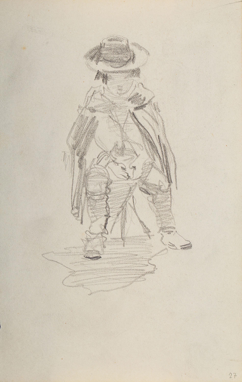 Stanisław Batowski Kaczor   Siedzący na stołku chłopiec okryty peleryną z kapeluszem na głowie