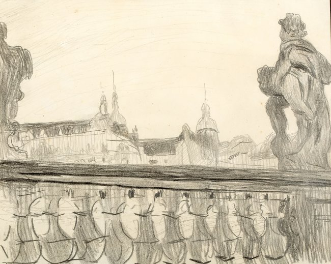 Stanisław Kamocki | Balustrady Zwingeru i widok na zamek książąt saksoński w Dreźnie, ok 1903