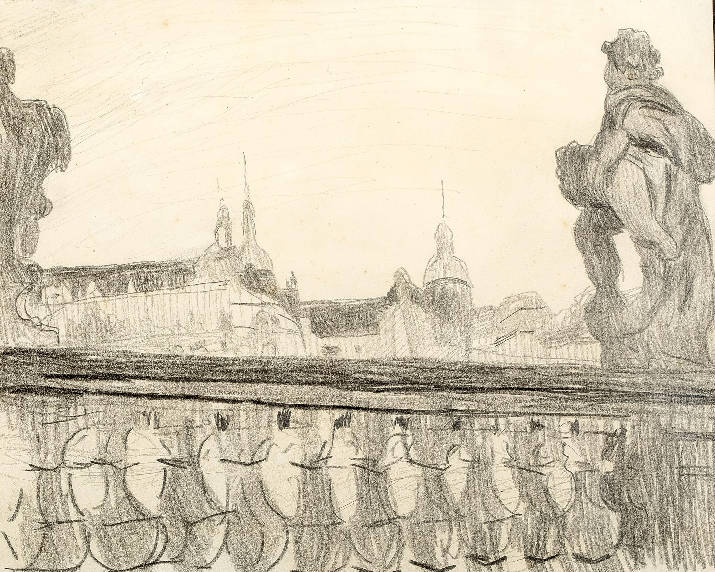 Stanisław Kamocki   Balustrady Zwingeru i widok na zamek książąt saksoński w Dreźnie, ok 1903