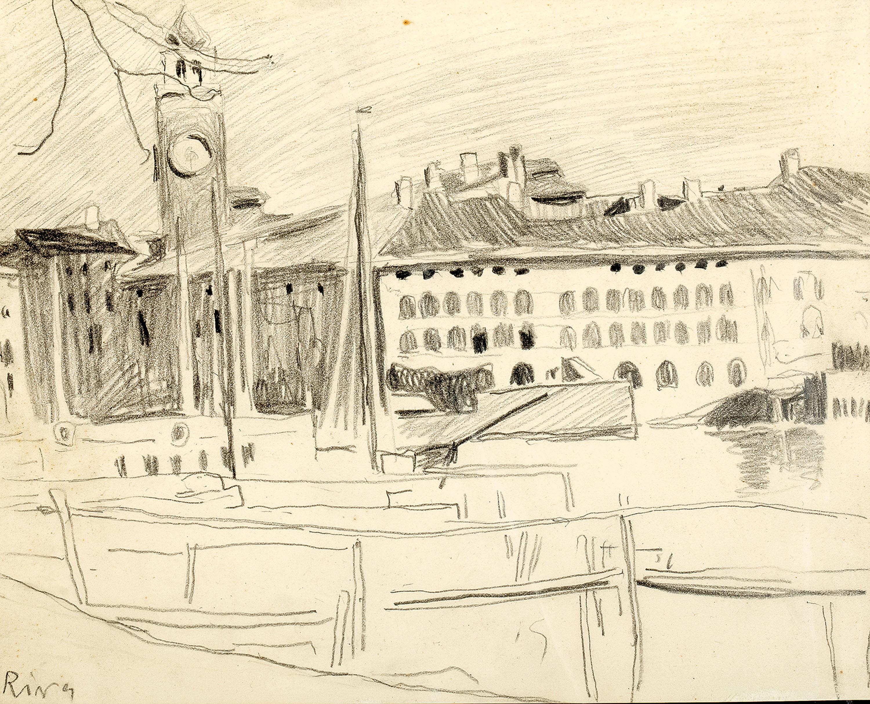 Stanisław Kamocki | Widok na port i Torre Apponale w Riva del Garda, ok. 1907