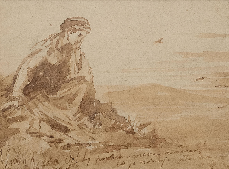 Tadeusz Rybkowski | Zamyślona dziewczyna, ok. 1879 r.