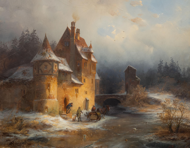 Francois Stroobant | Zimowy pejzaż z zamkiem