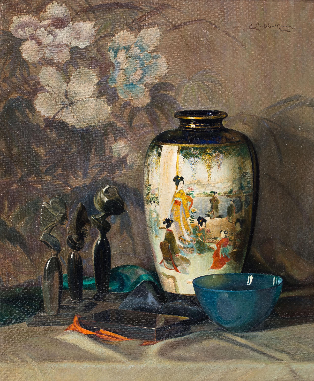 Elisabeth Stechele-Mauer | Martwa natura z balijskimi statuetkami i wazą Meiji