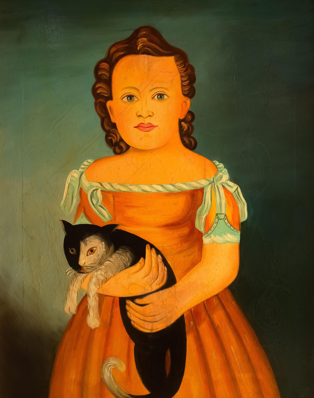 dziewczyna-z-kotem-malarz-ludowy