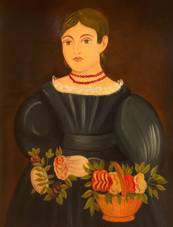 dziewczyna-z-koszem-kwiatow-malarz-ludowy