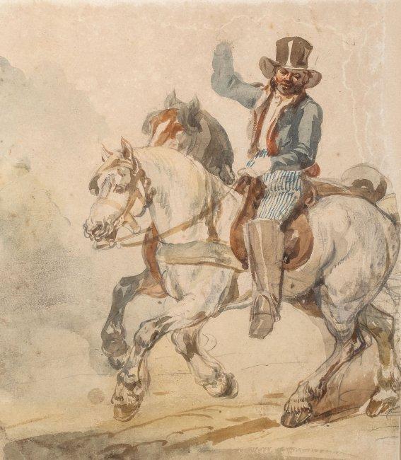 Piotr Michałowski   Para koni w zaprzęgu z pocztylionem, lata 1832–1835