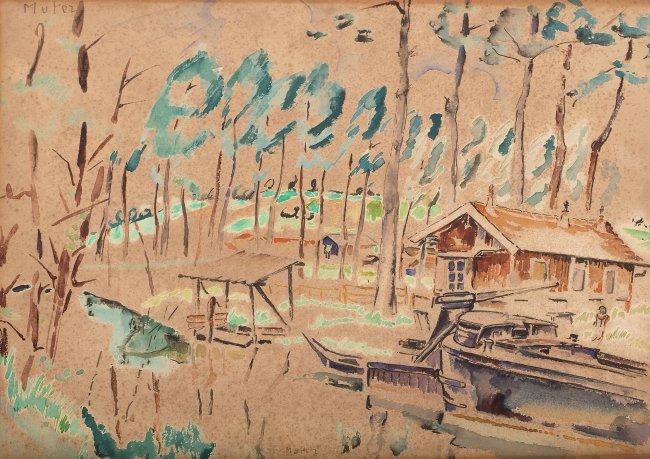 Mela Muter   Pejzaż z domkiem nad jeziorem