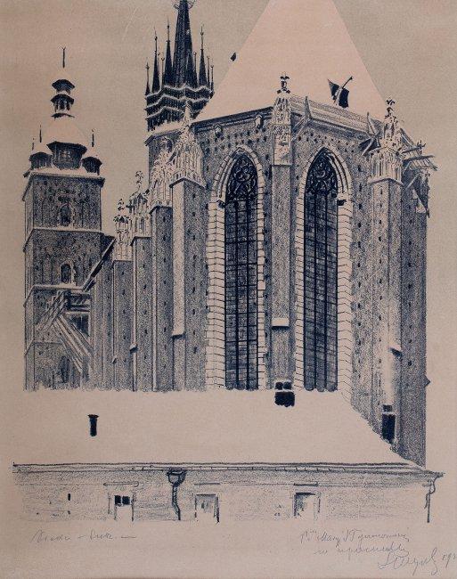 Leon Wyczółkowski | Widok od wschodu na Kościół Mariacki w Krakowie