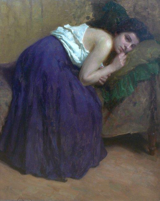Simon Glücklich | Portret kobiety na kanapie