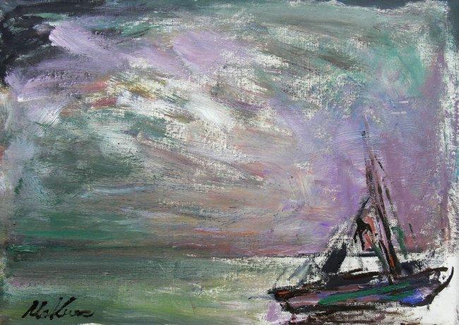 Marian Mokwa | Pejzaż morski z łódką