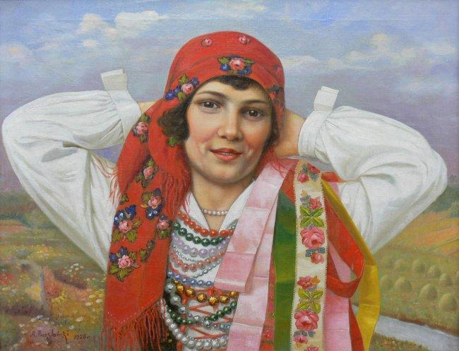 Antoni Przesłański | Portret dziewczyny w stroju ludowym, 1928 r.