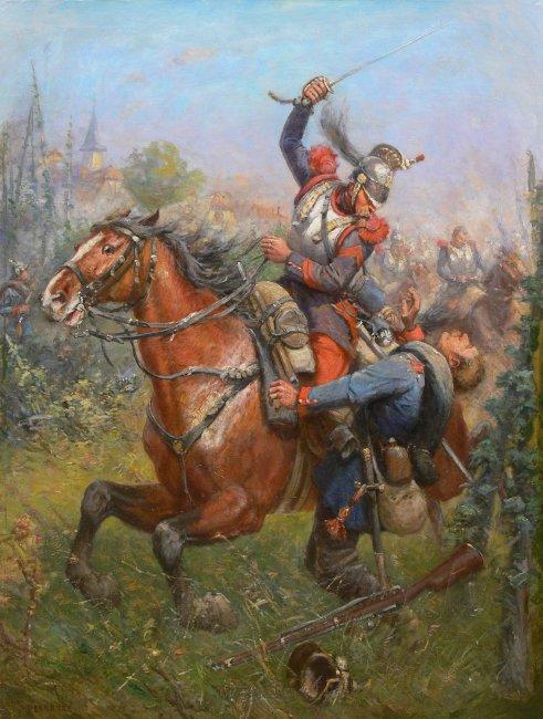 Artysta nieokreślony   Potyczka francuskiego kirasjera z piechurem pruskim, scena z wojny francusko-pruskiej l. 1870-1871