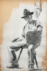 Studium siedzącego mężczyzny
