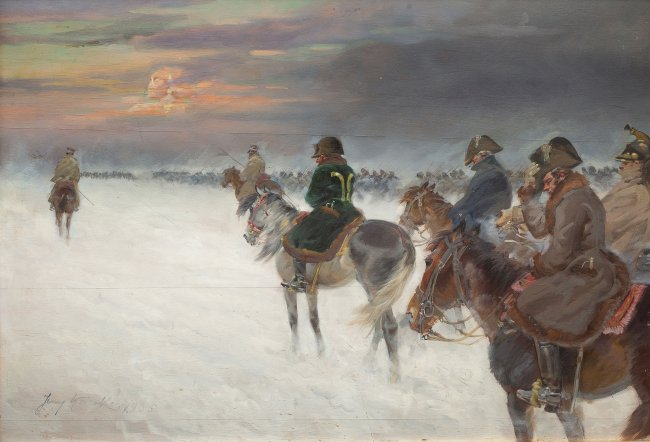 Jerzy Kossak | Odwrót Napoleona spod Moskwy, 1936 r.