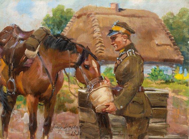Jerzy Kossak | Ułan z koniem, 1930 r.