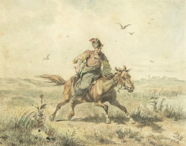 kozak-jadacy-przez-step-1864-r-jozef-brandt